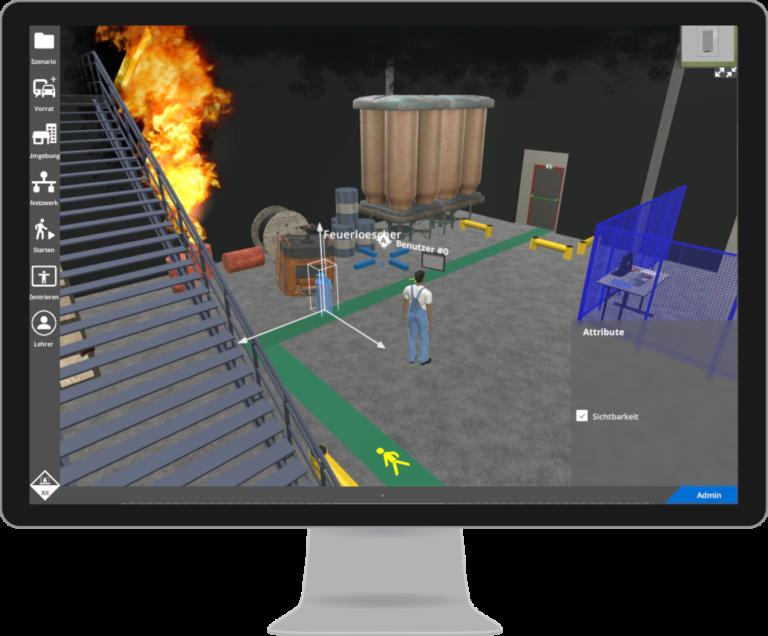 Industriehalle mit Feuer
